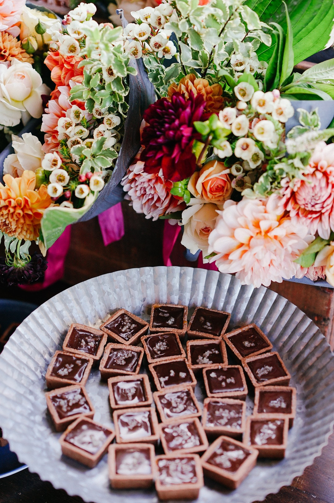 buffet with flowers and chocolates