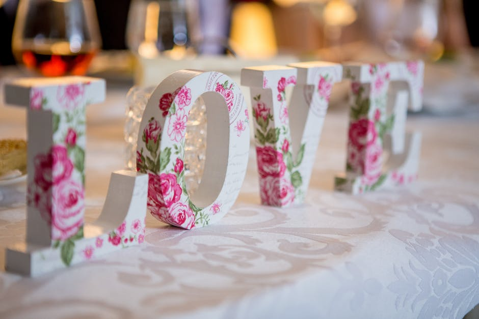 love on wedding table